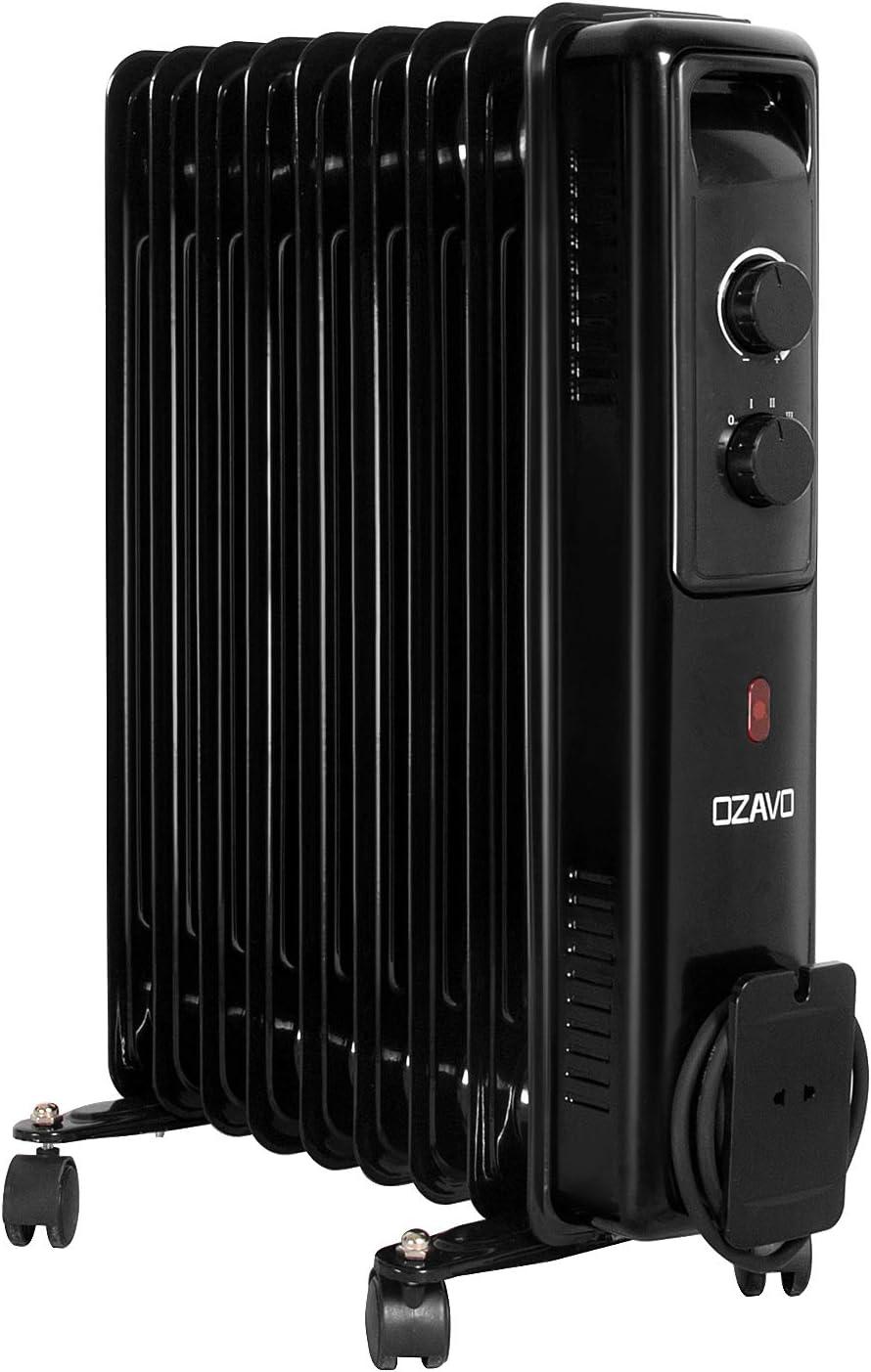 OZAVO Radiador de Aceite 9 Elementos 2000W,3 Niveles de Potencia,Control de Temperatura con termostato mecánico,Sistema Antivuelco