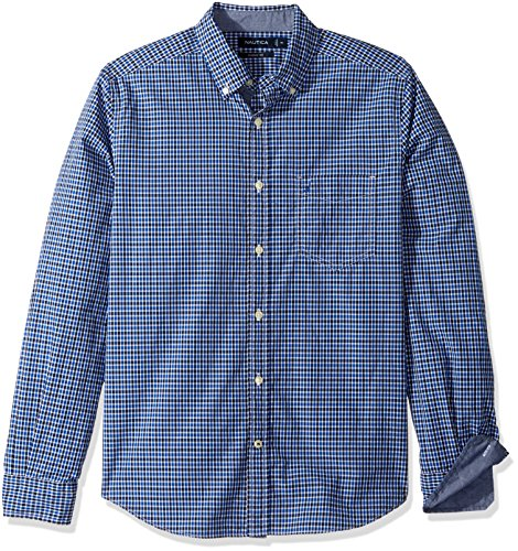 Nautica Men's Long Sleeve Classic Fit Plaid Button Down Shirt, Bright Cobalt, X-Large