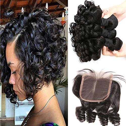 Aliglossy Brazilian Virgin Hair Funmi Hair With Closure Short Bob Weave Hairstyles Bouncy Curly Weave With Closure 100% Unprocessed 8A Hair Extensions Human Hair Natural color 100g/PC8 10 12 with 10