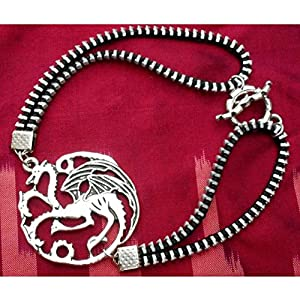 Steampunk Zipper Bracelet, 3 Headed Dragon,House Targaryen Sigil, Mother of Dragons, Game of Thrones