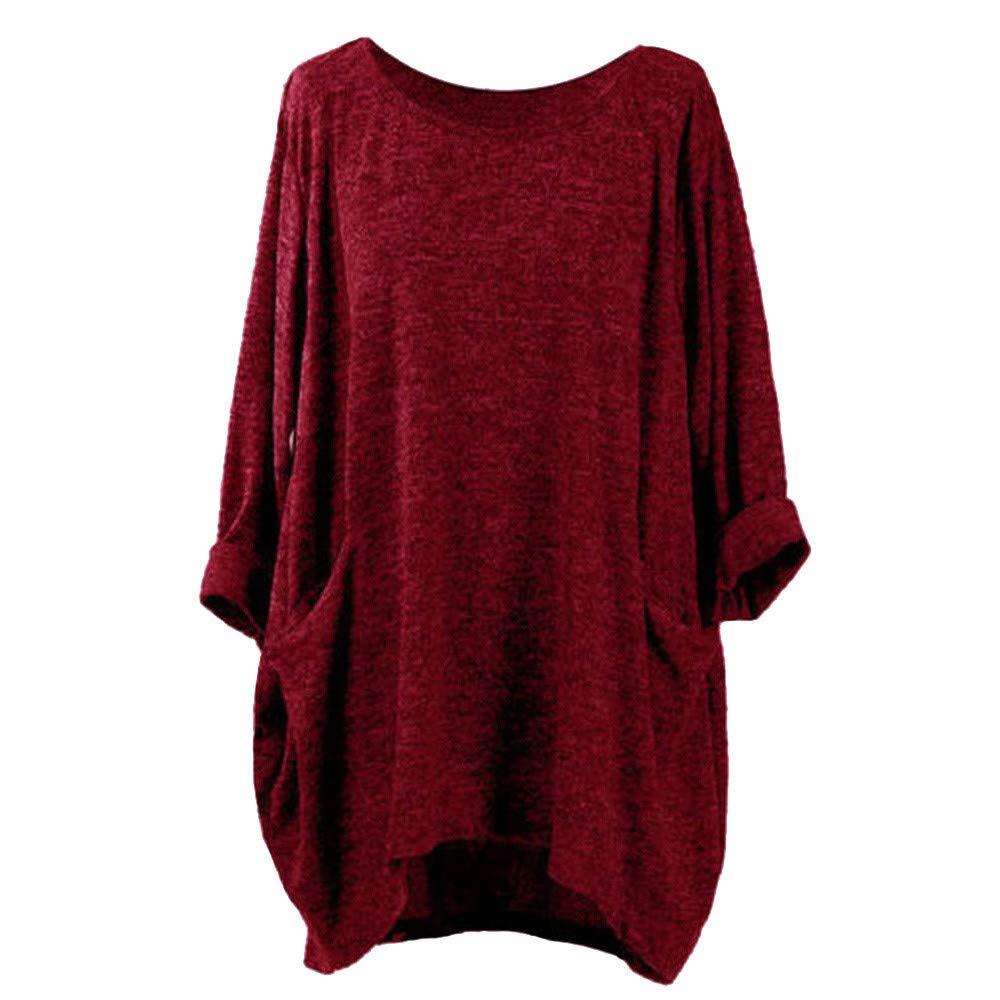Ulanda Women's Oversized T-Shirt Blouse Round Neck Batwing Sleeve Loose Casual Tunic Tops Wine Red by Ulanda