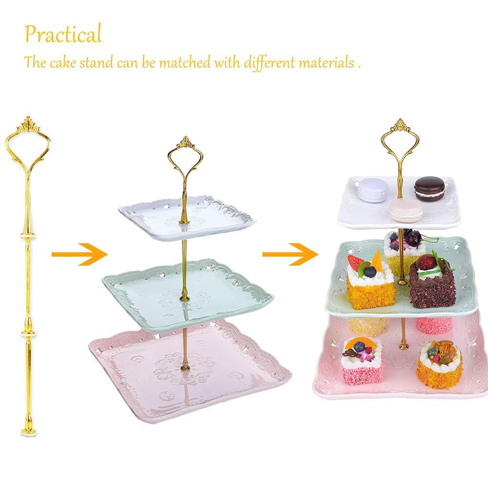 3 Piani Crown Cake Stand Piatto Manico di Accessori per Feste di Matrimonio 4Set Oro INTVN raccordi Alzata Cake