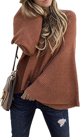 Mujer Suéter Casual Jersey Prendas de Punto Cuello Redondo ...