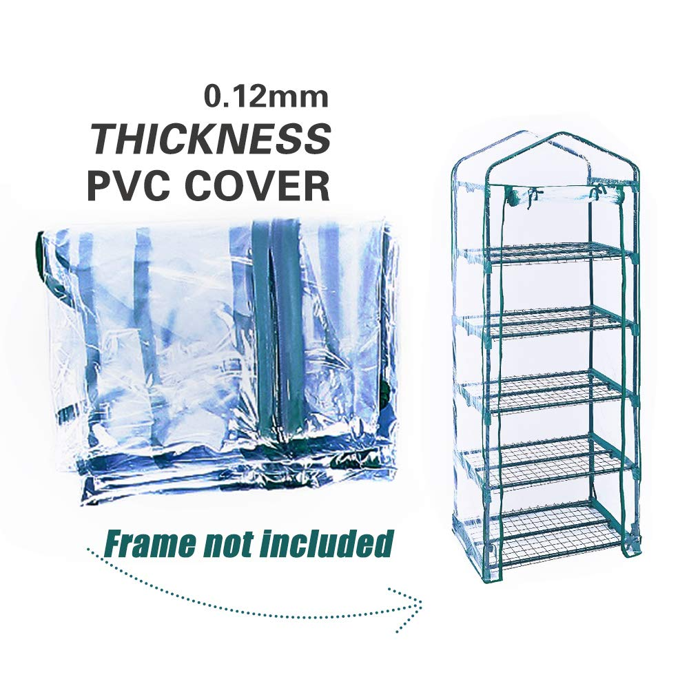 Homes Garden 5-Tier Shelves Mini Greenhouse Upgraded Replacement Cover Fit for Frame Size 27 in. L x 19 in. D x 76 in. H (Frame Not Included) #G-G304B00