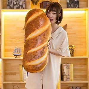 31 inch 3D Simulation Bread Shape Pillow Toast Bread Shape Plush Pillow Plush Cushion Stuffed Toy Soft Lumbar Back Cushion Funny Food Plush Stuffed for Home Decor Funny Toys