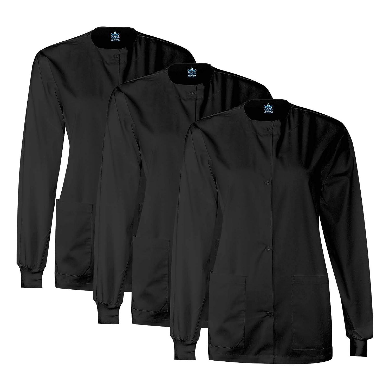 MAZEL UNIFORMS Womens Scrub Jacket Warm UP Jacket with Snaps Many Colors