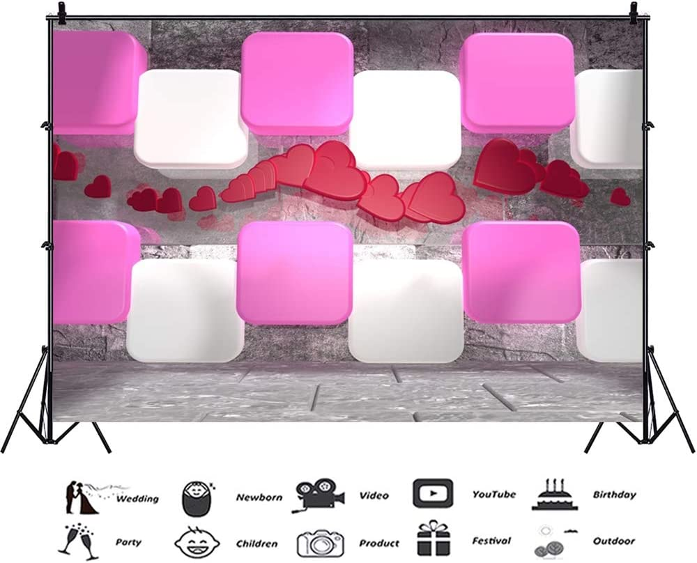 Laeacco Valentines Day Backdrop Vinyl 10x7ft 3D Artistic Pink White Diamond Red Heart Ornaments Rustic Mable Wall Floor Background Lovers Adult Portrait Shoot Studio Props