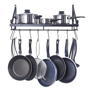 Rack De Cocina, Repisa De Utensilios De Cocina, Rack De Ollas De Pared Con 10 Ganchos En Forma De S, Metal, Negro,B: Amazon.es: Hogar