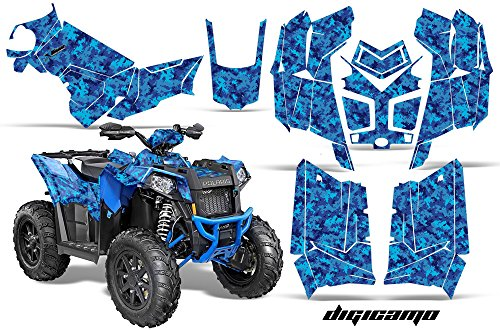 AMRRACING Polaris Scrambler 850 2013-2016 Full Custom UTV Graphics Decal Kit - Digicamo Blue ()