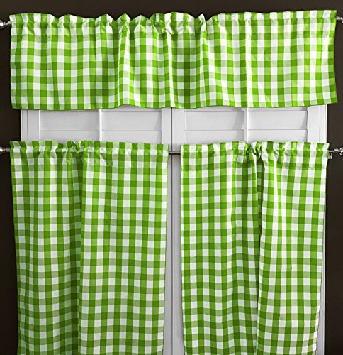 lovemyfabric 100% Polyester Gingham Checkered Plaid Design 3 Piece Kitchen Curtain Tier/Valance Window Treatment Set (Lime Green)