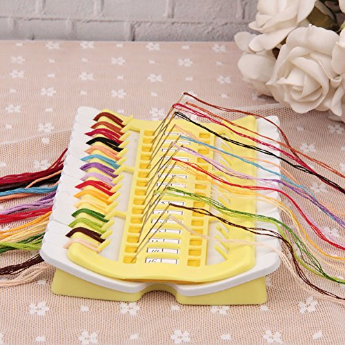 Pueri Embroidery Floss Organizer 50 Positions Sewing Needle Pins Holder Cross Stitch Kit Embroidery Thread Project Dedicated Tool DIY Sewing Tools (jelly yellow) by Pueri