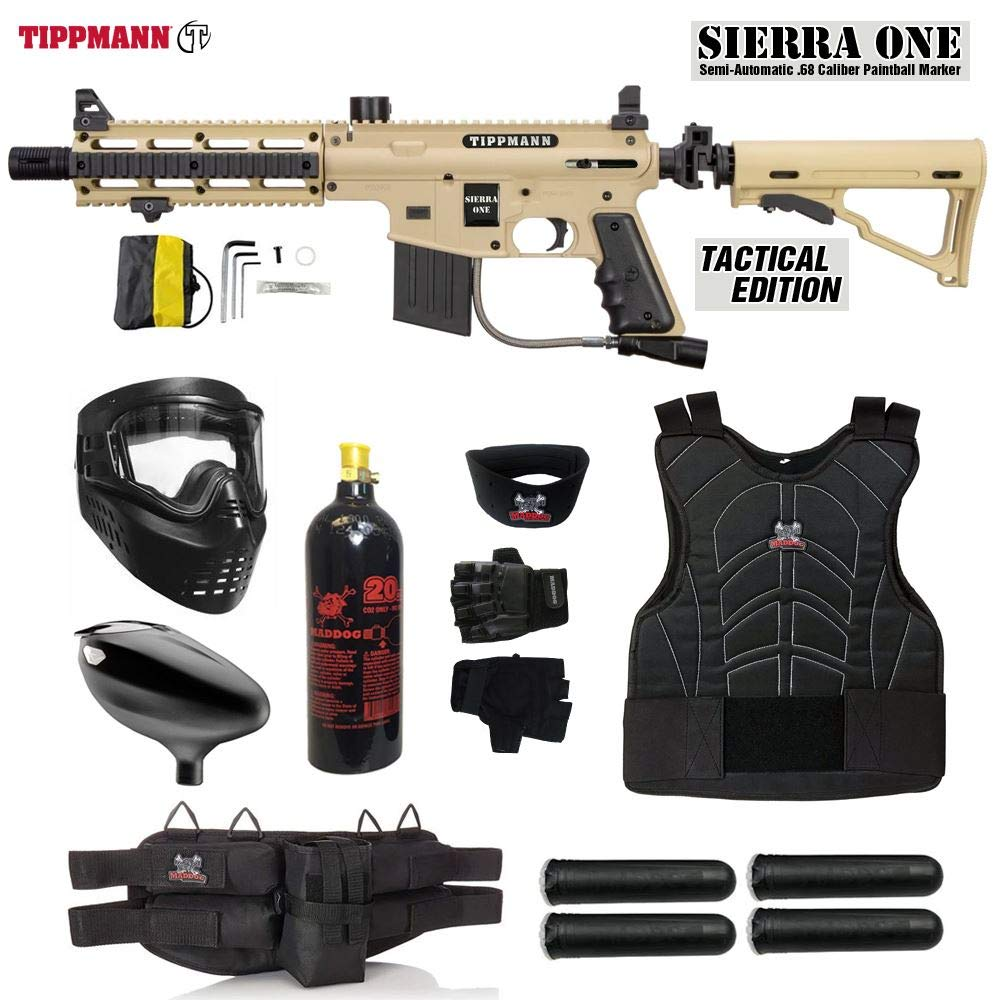 MAddog Tippmann Sierra One Starter Protective CO2 Paintball Gun Package - Tan by MAddog