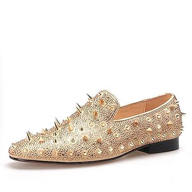 9130c7b10d635 HI&HANN Spikes and Diamonds Men's Glitter Leather Shoes Slip-on Loafer  Smoking Slipper