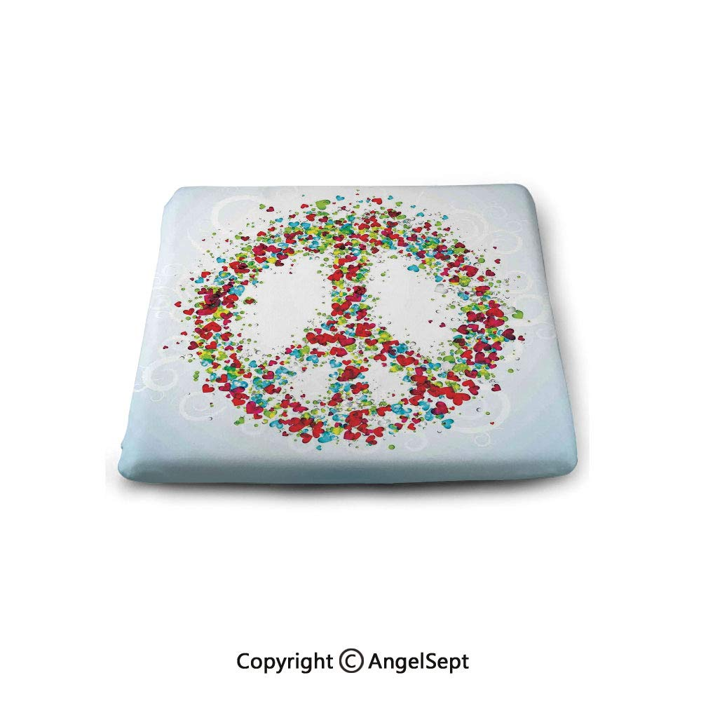 Square Chair Seat Cushion for Kitchen Dining Chairs,Groovy Decorations,Peace Symbol Made by Hearts Unity Lack of Conflict No More Hostility Theme Illustration,Multi,Memory Butt Pad Non Slip