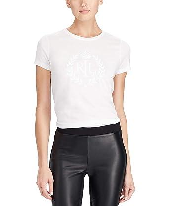 18bdcb2c Lauren Ralph Lauren Women's Stud-Graphic T-Shirt White XL at Amazon ...