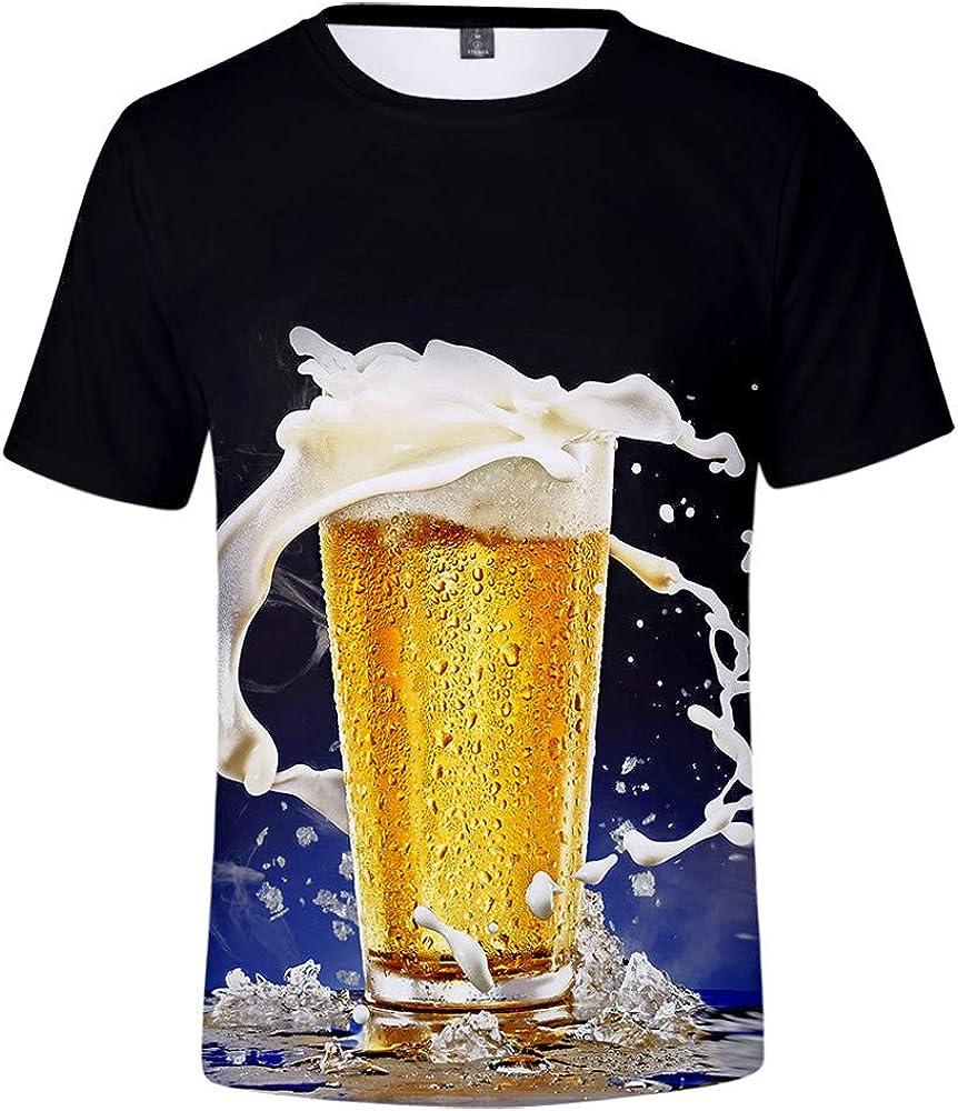 Overdose Camisas Hombre Manga Corta Verano Tallas Grandes 3XL 3D Estampadas Tops Divertidos Blusa Camiseta De Cerveza para La Ropa De Club De Fiesta: Amazon.es: Ropa y accesorios