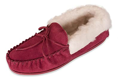 Womens 100% Sheepskin Lined Suede Moccasins with Sheepskin Collar - Made in UK