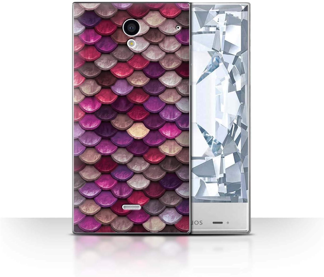 Stuff4® Phone Case/Cover/Skin/SP-CC/Watercolour Mermaid Scales Collection Rosa/Morado Sharp Aquos Crystal/306SH: Amazon.es: Informática