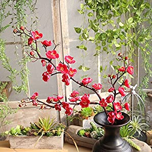 Gotian Artificial Silk Fake Flowers Plum Blossom Floral Wedding Bouquet Party Decor ~ for Decorating Wedding Party, Your Home, Garden Decoration, Office, Coffee House (Hot Pink) 42