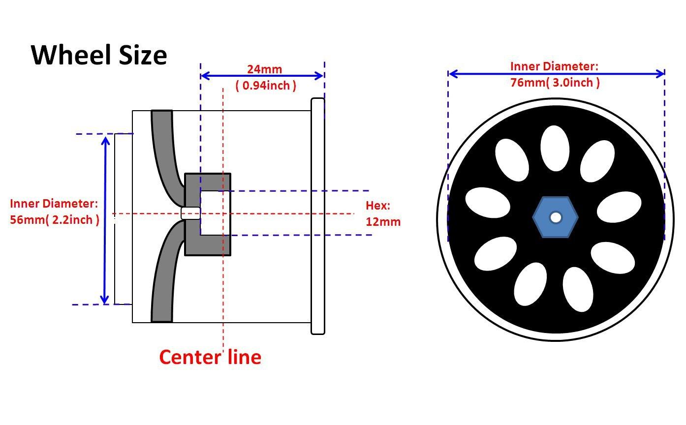 4pcs 1/10 RC 2.2/3.0 Short Course Tires & Hex 12mm Beadlock wheels Blue Color plastice Rims