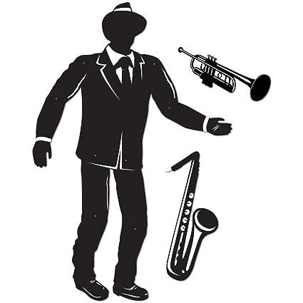 3 Jazz Musician Silhouettes Decor Birthday Party Mardi Gras Roaring 1920/'s Event