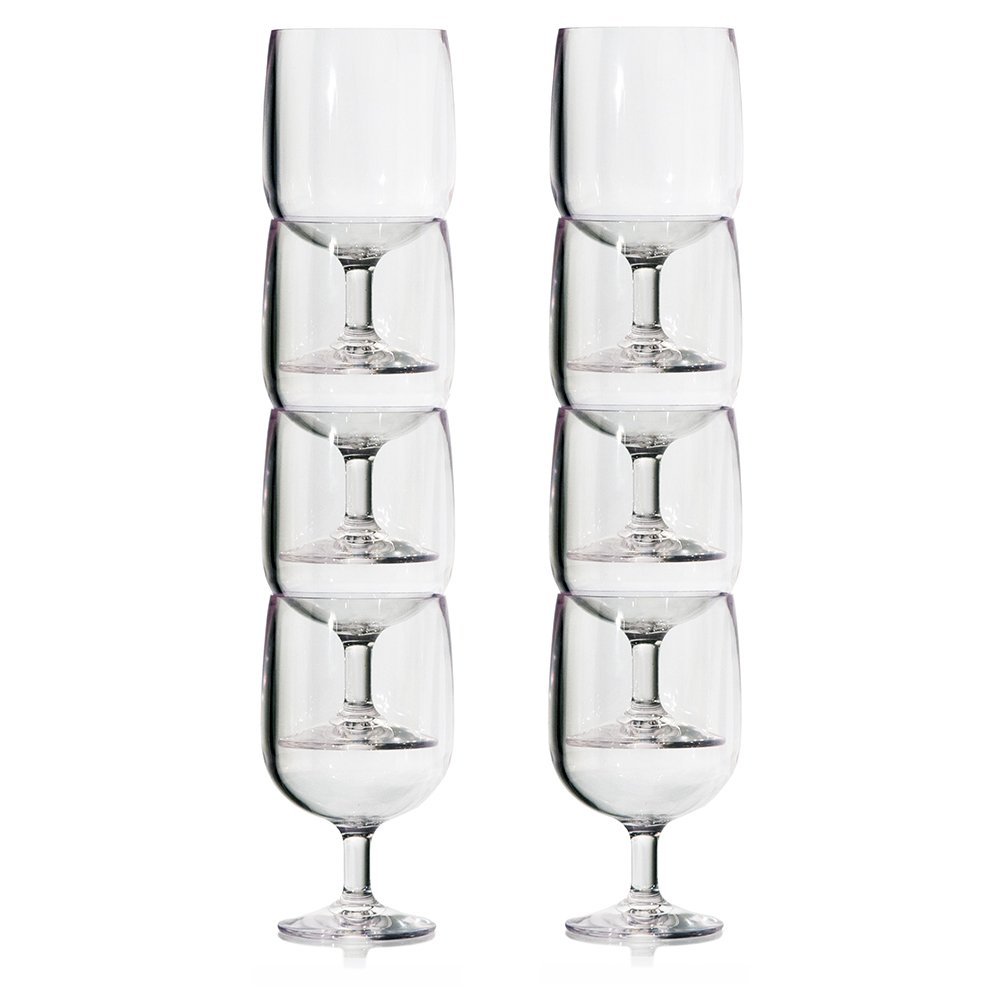 Stackable Premium Quality Plastic 8oz Wine Glass - Set of 8 by US Acrylic (Image #4)