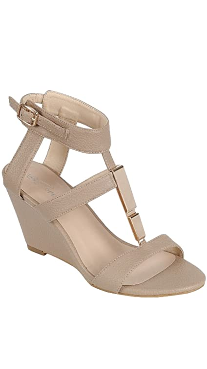 Forever Rosie-31 Women's open toe crossing strap adjustable ankle strap gold trim sandals Tan 10