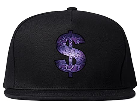 4bc65d6488e Kings Of NY Snakeskin Money Sign Purple Animal Print Snapback Hat Black