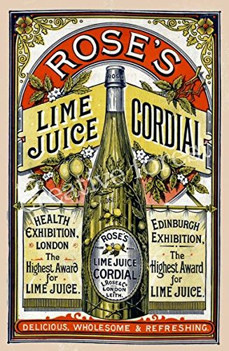 Rose Lime Juice, 1891 Vintage Advertising Poster Reproductio