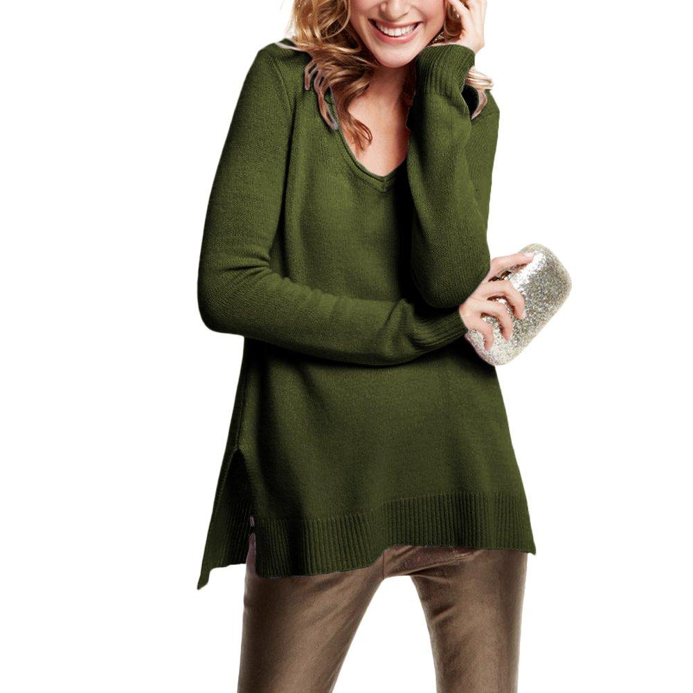 Parisbonbon Women's 100% Cashmere V-Neck Sweater Color Olive Green Size M