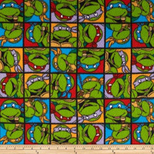 E. E. Schenck Nickelodeon Teenage Mutant Ninja Fleece Turtle Power Green Fabric by The Yard