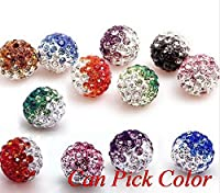 10mm Gradient Colorful Crystal Shamballa Beads Pave Clay Disco Ball Jewelry Making 50 PCS