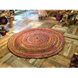Fair Trade Large 150cm Round Braided Rag Rug Cotton Jute Multi Coloured Chindi Mat by Second Nature Online