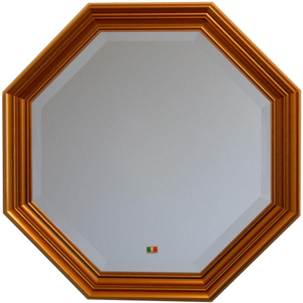 イタリア製 JHAアンティーク風水ミラー シンプル (金運ゴールド) 正八角形W477×H477 IE-105 (デラックス:面取り加工)八角ミラー 八角鏡 壁掛け鏡 ウォールミラー B01LWRURDP 金運ゴールド 金運ゴールド