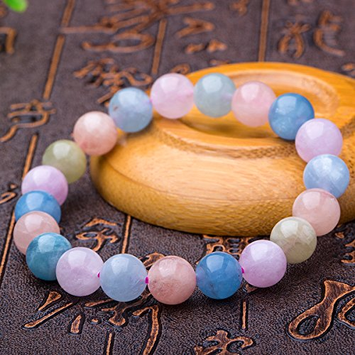 Cut Coco Bracelets (Natural Genuine Morganite Stone Stretch Bracelet 8mm Beads Crystal Bracelet for Men Women Lucky Gemstones Bracelet)
