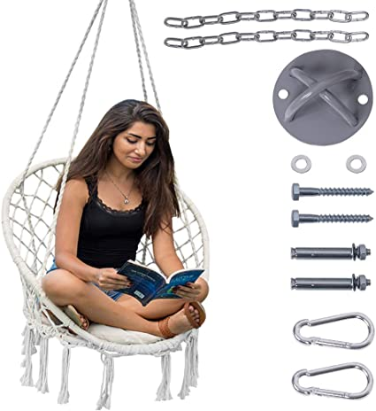 Amazon Com Lazy Daze Hammocks Handwoven Cotton Rope Hammock Chair Macrame Swing With Cushion And Wall Ceiling Mount 300 Pounds Capacity For Indoor Garden Patio Yard Natural Kitchen Dining