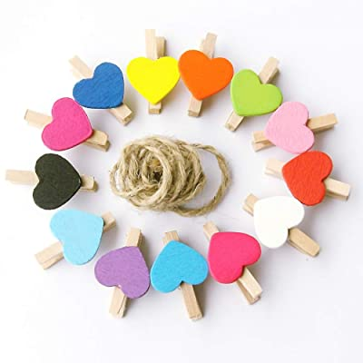 meiyuan 50pcs Mixed Color Heart Wooden Mini Pegs Photo Clips for DIY Art Craft Supplies Mixed Color : Garden & Outdoor