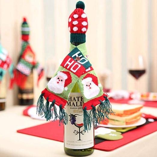 Jenny.Ben Conjunto de Punto Decoraciones navideñas Conjunto de Botella de Vino Decoraciones navideñas aisladas Decoración de año Nuevo 2 Piezas A1_S: Amazon.es: Hogar
