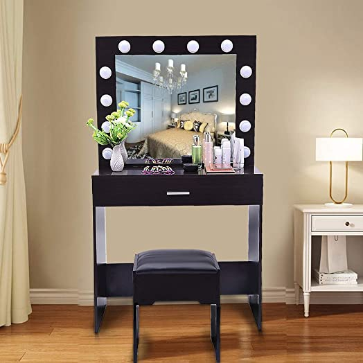 Vanity Set with Lighted Mirror, Wood Makeup Dressing Table with 12 LED Bulbs, 1 Sliding Drawer, 1 Cushioned Stool, Vanity Table Dresser Desk Vanity Benches Set for Bedroom, Bathroom Black