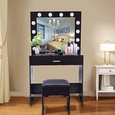 Amazon.com: Vanity Set with Lighted Mirror, Quality_hj ...