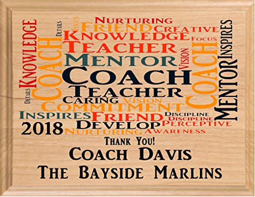 Personalized Coach Gift Plaque Coach's Solid Wood Coaches From Team Gifts Made in USA Thank You Baseball Coach