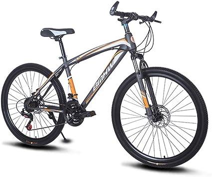 21 velocidades 26 Pulgadas Doble Freno Disco Horquilla suspensión de Hombro de Hierro Bicicleta Velocidad Variable Bicicleta montaña para Adultos,Orange: Amazon.es: Deportes y aire libre