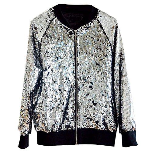 Baseball diseño Outerwear Sequined Jackets Women Sleeve Design Jacket Fashion Zhuhaitf último Silver Casual Winter Zip para Long w5nqPAIHx