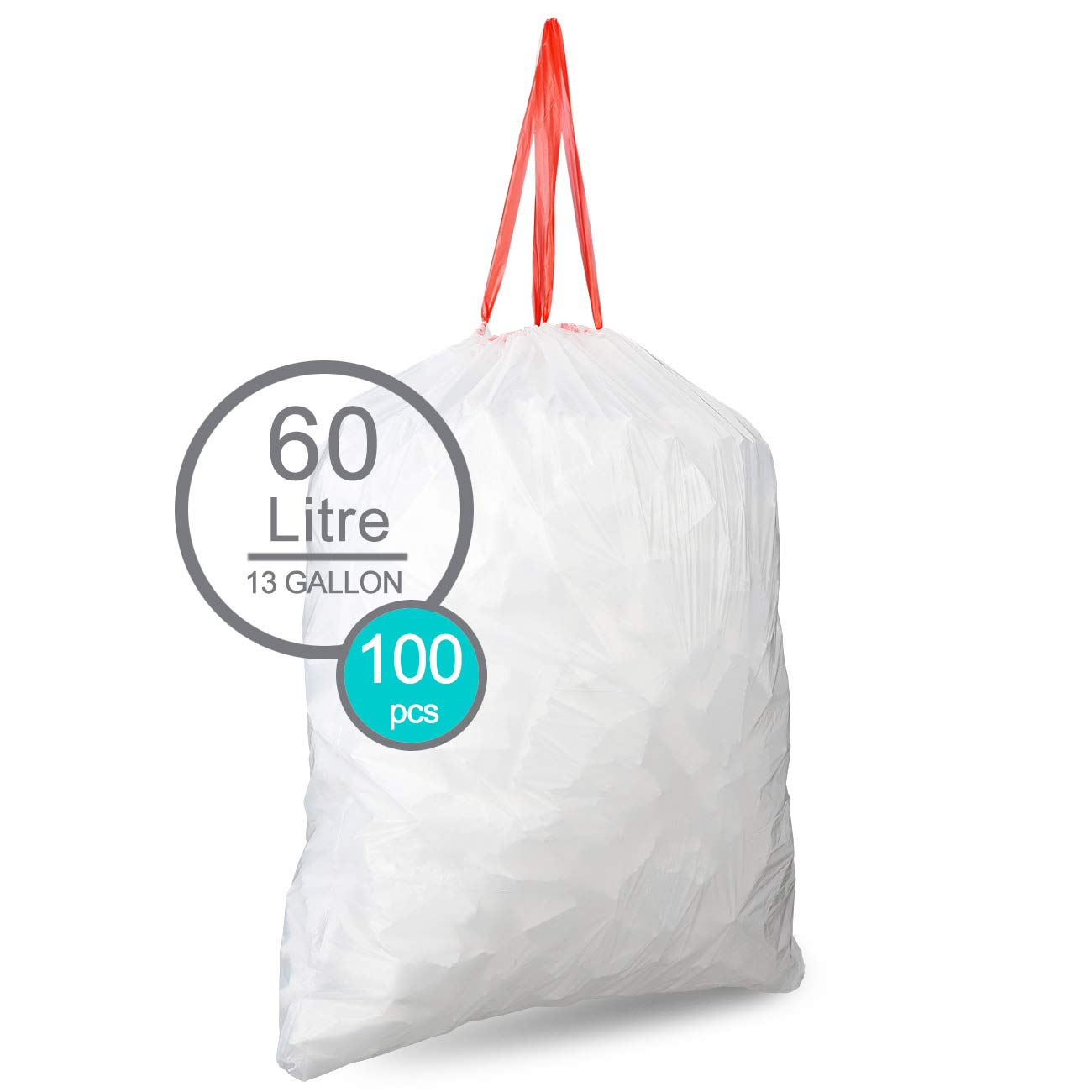 Drawstring Trash Bags By SoYoSaltBae13 Gallons Clear Eco-Friendly & Heavy-Duty Kitchen Garbage Bags Strong & Resilient Waste Bags For House Office Household Garage(5 Rolls/100 Counts)