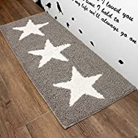 Stars Gray Area Rug, Kitchen Mat, Door & Bath Rug , Decorative, Stylish Designs (43x17)