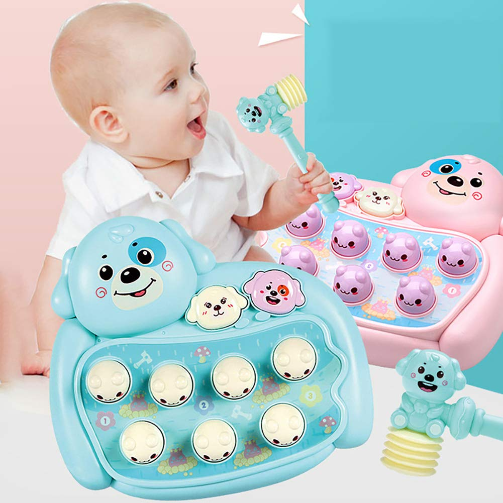 Novobey Whack A Mouse Game Toy Cute Dog Classic Interactive Arcade Game with Music and Lights Great Gifts for Kids