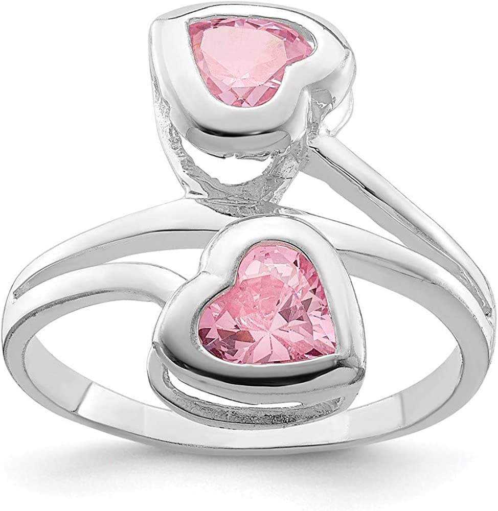 925 Sterling Silver CZ Ring Double Bang Ring With Two Pink Gemstones Birthday Anniversary Party Graduation Present For Her Promise Ring