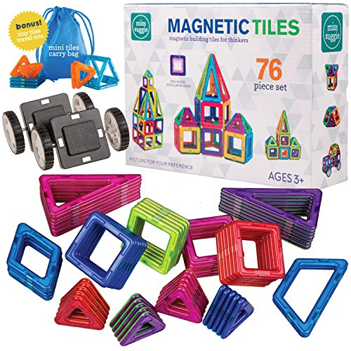 Superior Quality 76 Piece Magnetic Tiles Building Toy Blocks and Car Set for Kids - Educational Toy Kits with Bonus Mini Tiles and Travel Storage Bag - A Great Stem Toy for Boys and Girls