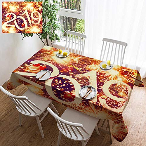 6 Light Sturbridge (simple color cotton linen tablecloth,washable, 2019 abstract text on colorful background of christmas tree and lights bright decorating restaurant - kitchen school coffee shop rectangular 54×39in)