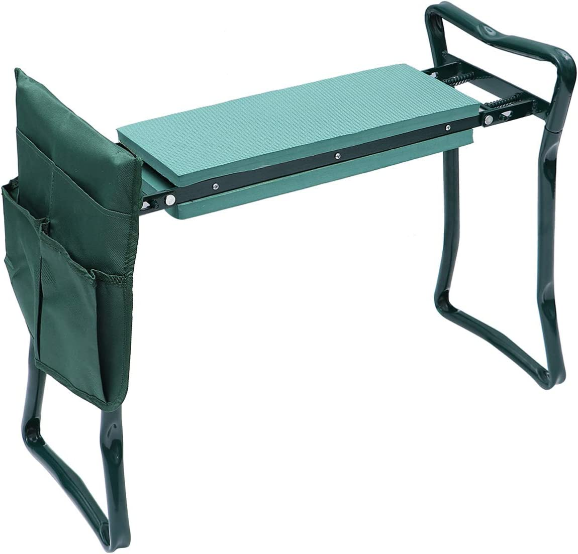 Happyyami Folding Garden Kneeler with Handles Garden Kneeler Folding Stool Metal Kneeler Stool Seat Garden Bench with Tool Pouches Easy to Carry